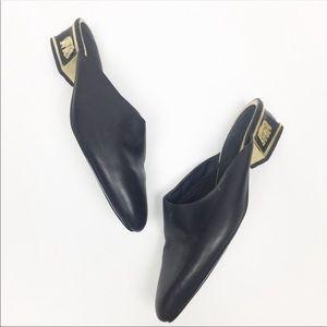Vintage | Black Elephant Heel Minimalist Mules